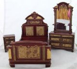 Victorian Burl Bedroom Set, 3pcs