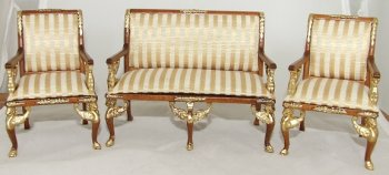 Empire Settee & 2 Armchairs, Gold