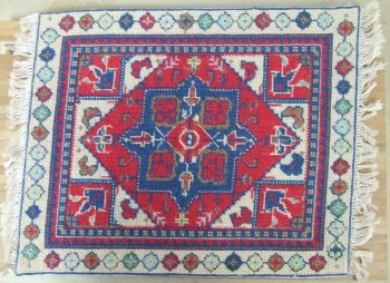 Needlepoint Rug, Oriental Red & Blue