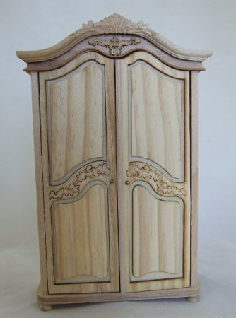 Fancy Carved Armoire, Unfinished