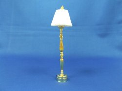 Brass Turned Floor Lamp w/White Shade