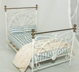 Vintage Brass & White Enamel Bed, 5pc