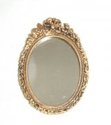 Mirror, Oval, Bow & Floral, Gold