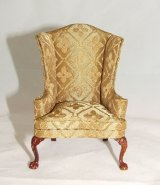 Wing Chair, Gold Silk