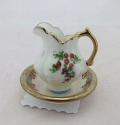 Porcelain Pitcher & Bowl, Gold