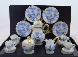 Coffee Set for 4, Blue Onion