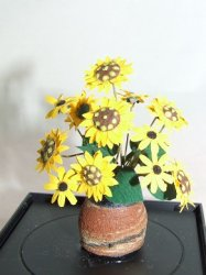 Black Eyed Susans in Clay Pot