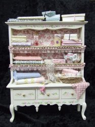 Sewing Cabinet, Filled & Handpainted