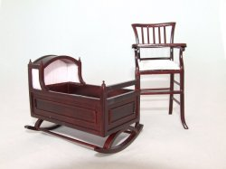 Baby Bliss Cradle & Highchair, Mahogany