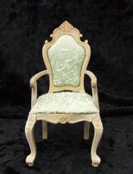 Carved Queen Anne Arm Chair, Unfinished