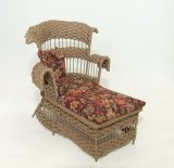 Wicker Chaise, Tan Floral