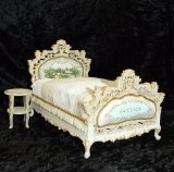 Carved Bed, Handpainted w/ Table