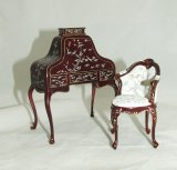 Ladies Desk & Chair, Handpainted