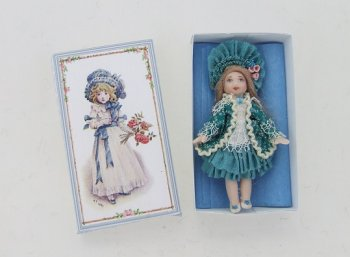 Porcelain Baby Doll in Box, Teal