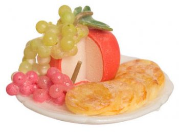 Cheese, Crackers, and Grape on Plate