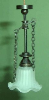 Pendant Gas Light, Frosted Serrated Bell