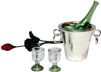 Bottle, 2Glasses, Rose, Bucket