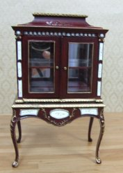 2 Door Cabinet, Handpainted, Mahogany