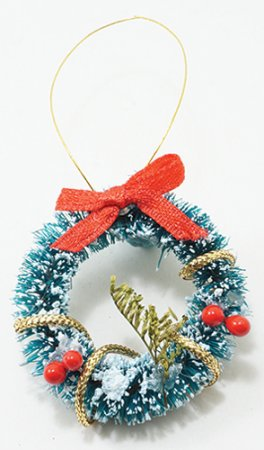 Wreath, Frosted w/ Red Bow