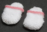 Ladies Slippers, White & Pink