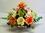 Oranges Roses on a Silver Footed Vase
