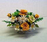 Yellow Roses on a Silver Footed Vase