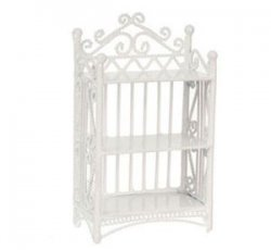 3 Tier Bookcase, White Wicker Wire