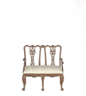 Chippendale Double Back Settee, Walnut