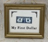 My First Dollar in Gold Frame