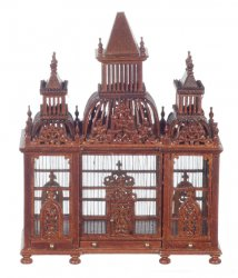 Bird Cage with Birds, Walnut