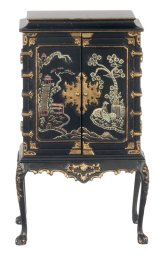 Chinese Chipp. Cabinet, Black