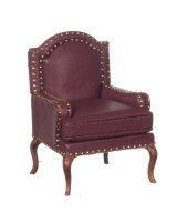 Upholstered Chair, Leather/Burg