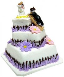 3-Tier Wedding Cake with Bride and Groom