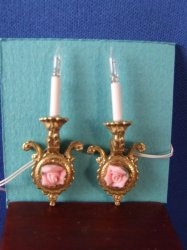 Rose Sconces in White, Solid Brass