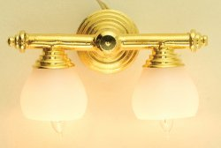 Brass Double Wall Lamp w/ Shades