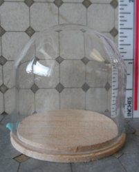 "Glass Dome with Wood Base 1-1/2""x1-1/4"""