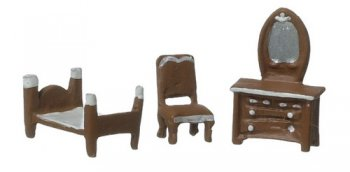 "1/144"" Brown Bedroom Set, 3 pcs"