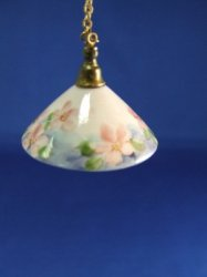 Porcelain Ceiling Lamp on Chain with Flared Shade
