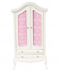 Armoire White w/Pleated Pink Fabric
