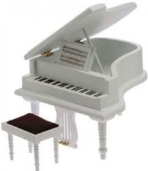 Baby Grand Piano w/ Stool, White