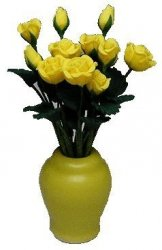 12 Yellow Roses in Yellow Vase
