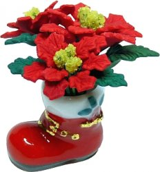 Red Poinsettias in Santa Boot