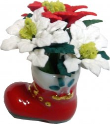 White/Red Poinsettias in Santa Boot