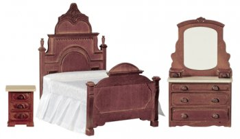 Victorian Bedroom Set, Walnut, 3pc