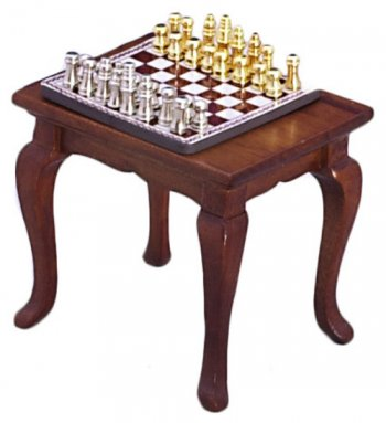 Chess Table & Set / Walnut