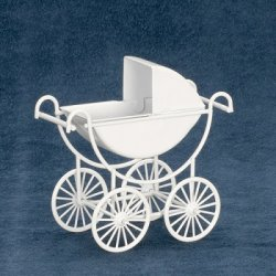 White Metal Baby Carriage