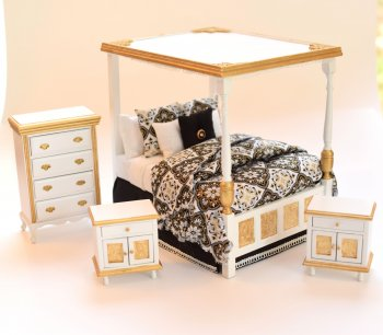 Golden Opulence, Newport Canopy Bedroom Set, 4pcs