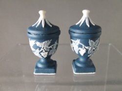 Dark Blue Wedgewood Covered Urns (Pair)