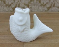 Cream Fish Vase , Pottery