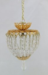 Large Hanging Chandelier w/ Crystals